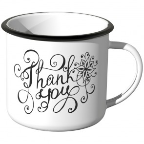 JUNIWORDS Emaille Tasse Thank you