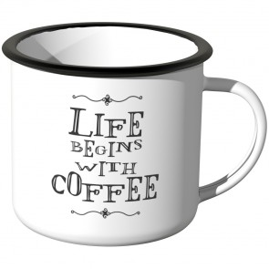 JUNIWORDS Emaille Tasse Life begins with coffee