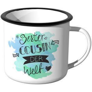 Emaille Tasse Bester Cousin der Welt - Aquarell