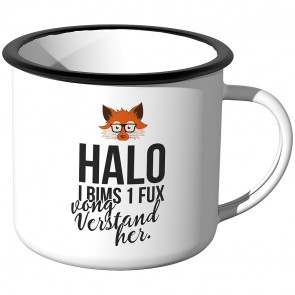 JUNIWORDS Emaille Tasse Halo I Bims 1 Guta Tag