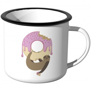 Emaille Tasse Faultier Donut