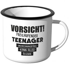 Emaille Tasse Vorsicht! Freilaufender Teenager