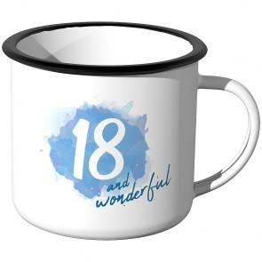Emaille Tasse 18 and wonderful - Blau