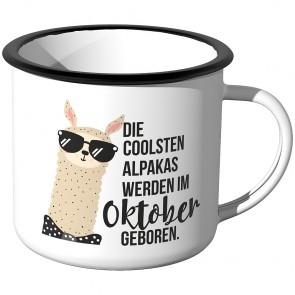 Emaille Tasse Die coolsten Alpakas werden im Oktober geboren