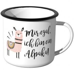 Emaille Tasse Ist mir egal, ich bin ein Alpaka - Rosa