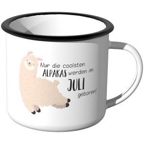 Emaille Tasse Nur die coolsten Alpakas werden im Juli geboren