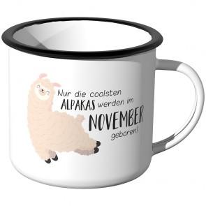 Emaille Tasse Nur die coolsten Alpakas werden im November geboren