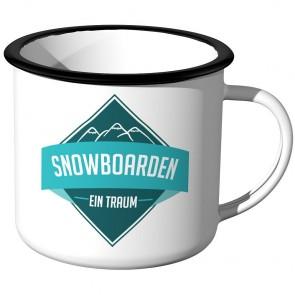 Emaille Tasse Snowboarden - ein Traum