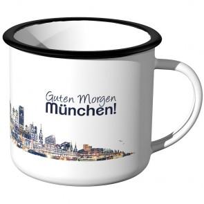 JUNIWORDS Emaille Tasse Skyline München bei Nacht