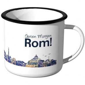 Emaille Tasse Skyline Rom bei Nacht