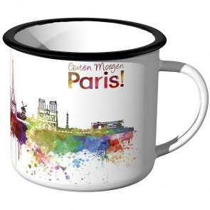 Emaille Tasse Skyline Paris