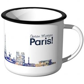 Emaille Tasse Skyline Paris bei Nacht