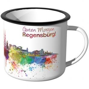Emaille Tasse Skyline Regensburg