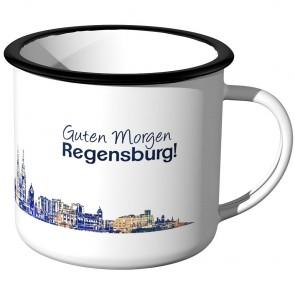 Emaille Tasse Skyline Regensburg bei Nacht