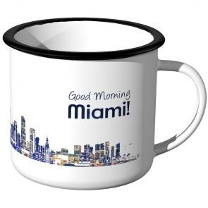 JUNIWORDS Emaille Tasse Skyline Miami bei Nacht