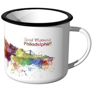 Emaille Tasse Skyline Philadelphia