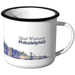 Emaille Tasse Skyline Philadelphia bei Nacht