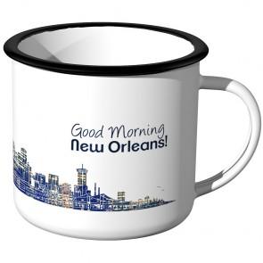 Emaille Tasse Skyline New-Orleans bei Nacht