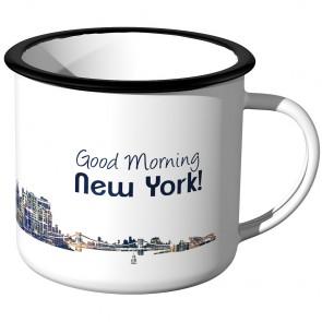 Emaille Tasse Skyline New York bei Nacht