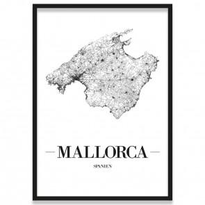 Poster Mallorca Straßennetz mit Bilderrahmen