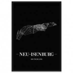 Stadtposter Neu-Isenburg - black