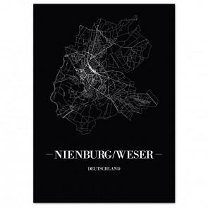 Stadtposter Nienburg/Weser - black