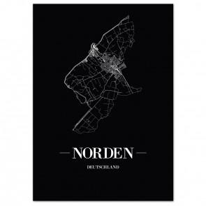 Stadtposter Norden - black