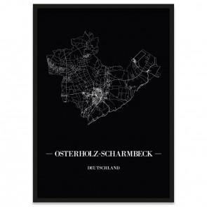Stadtposter Osterholz-Scharmbeck - black
