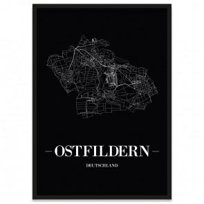 Stadtposter Ostfildern - black