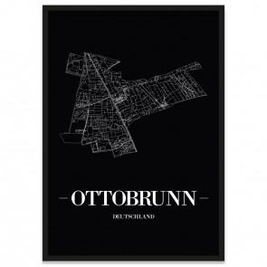 Stadtposter Ottobrunn - black