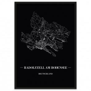 Stadtposter Radolfzell am Bodensee - black