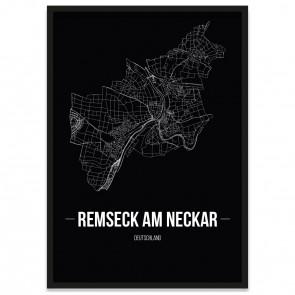 Stadtposter Remseck am Neckar - black
