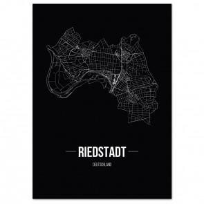 Stadtposter Riedstadt - black