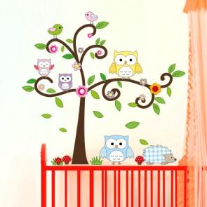 Wandsticker Set XL - Eulenbaum und Waldtiere