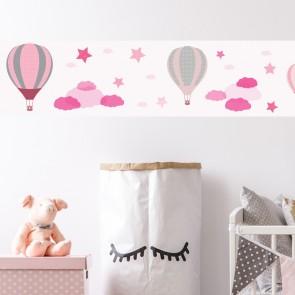 Bordüre Heissluftballons Mädchen Rosa