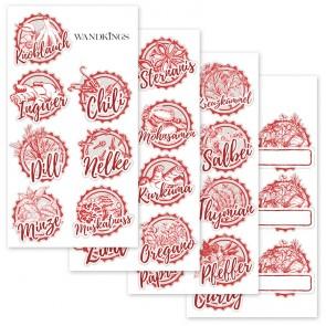Gewürzaufkleber rot, 30 Stück