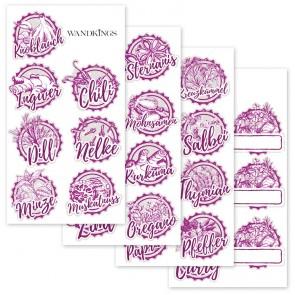 Gewürzaufkleber pink, 30 Stück
