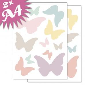 Fensteraufkleber Schmetterlinge Pastell