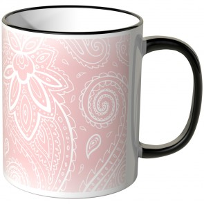 JUNIWORDS Tasse Schnörkel Rose-Weiß