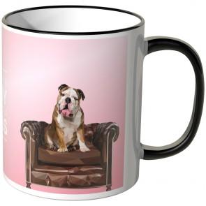 """JUNIWORDS Tasse Bulldogge """"LIKE A BOSS"""" - Rosa"""