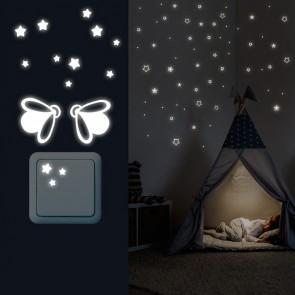 Leuchtaufkleber Sterne Abgerundet + Lichtschalter - Glühwürmchen Set