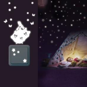 Leuchtaufkleber Sterne Abgerundet + Lichtschalter - Prinzessinnen Set