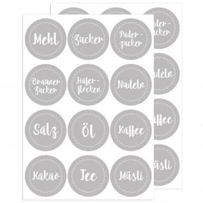 Küchen - Etiketten Grau, 24 Stück