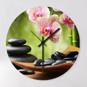 Wanduhr Hot Stones and Orchidee