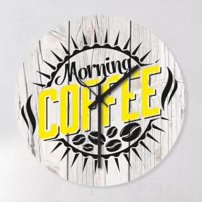 Wanduhr Kaffee Gelb