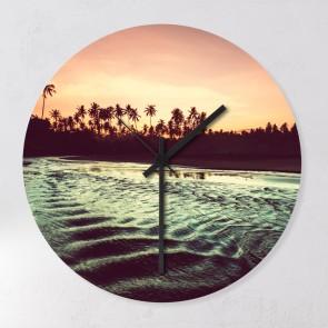 Motiv Wanduhr Sunset Beach Panorama