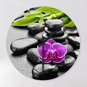 Motiv Wanduhr Orchidee Stones