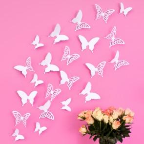Wandtattoo 3D - Schmetterlinge weiß mit Ornamenten / Muster