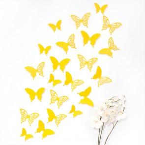Wandtattoo 3D - Schmetterlinge gelb mit Ornamenten / Muster