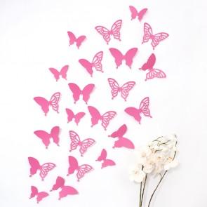 Wandtattoo 3D - Schmetterlinge pink mit Ornamenten / Muster